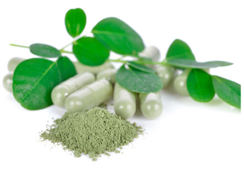 Moringa leaves and powdered capsules width=