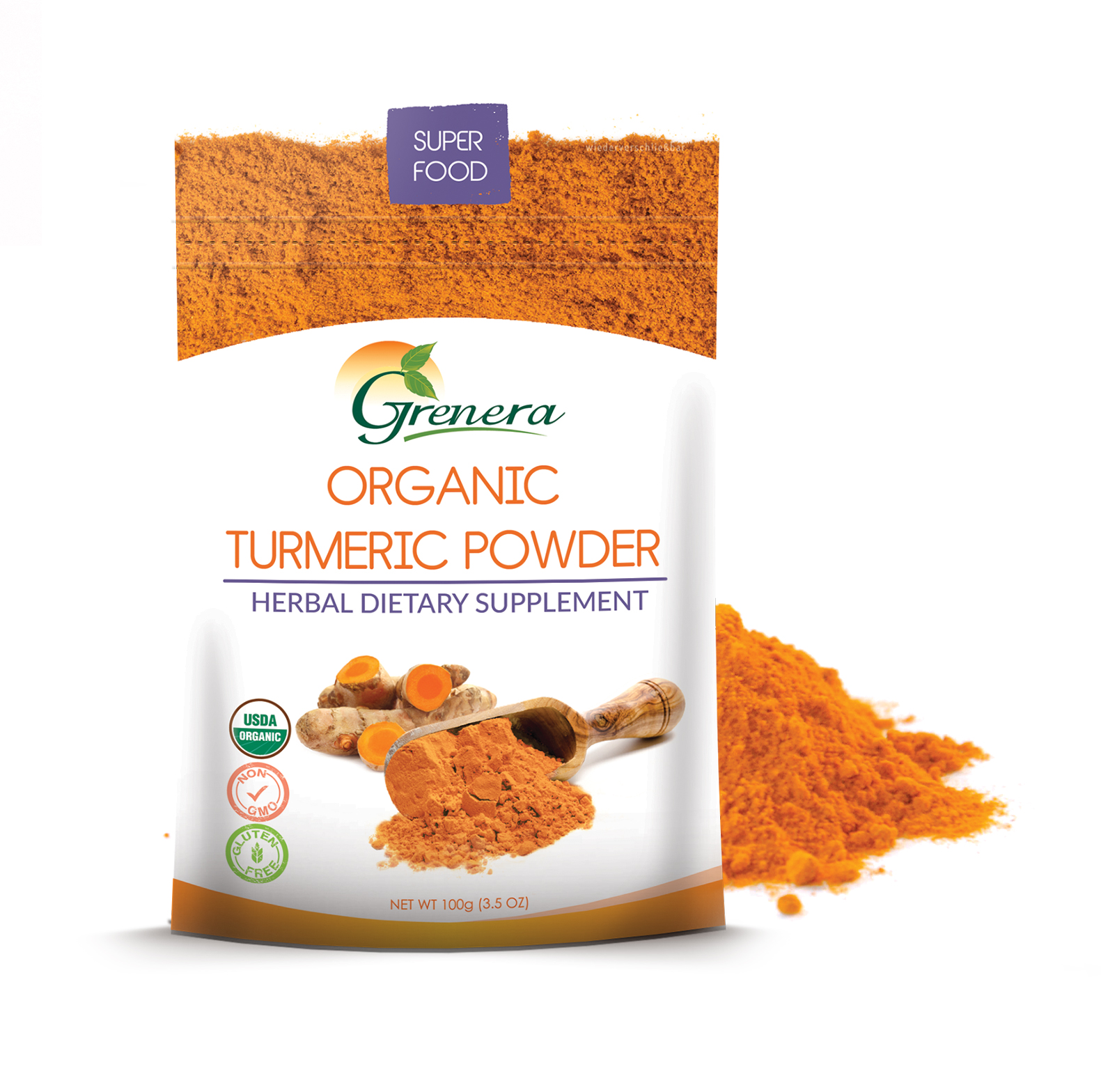 100% natural, organic and vegan-friendly dried Turmeric powder